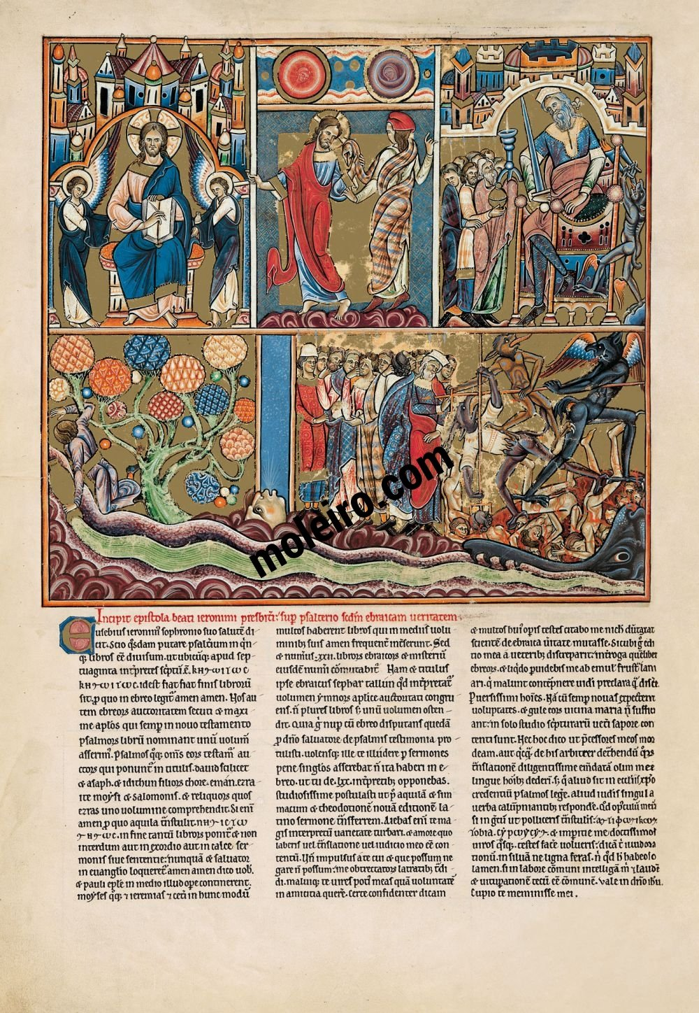 The Great Canterbury Psalter f. 5v, psalm 1 Blessed is the man who has not walked in the counsel of the ungodly
