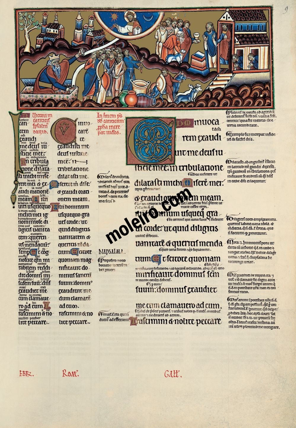 The Great Canterbury Psalter f.9r, psalm 4  When I called upon him the God of my justice heard me