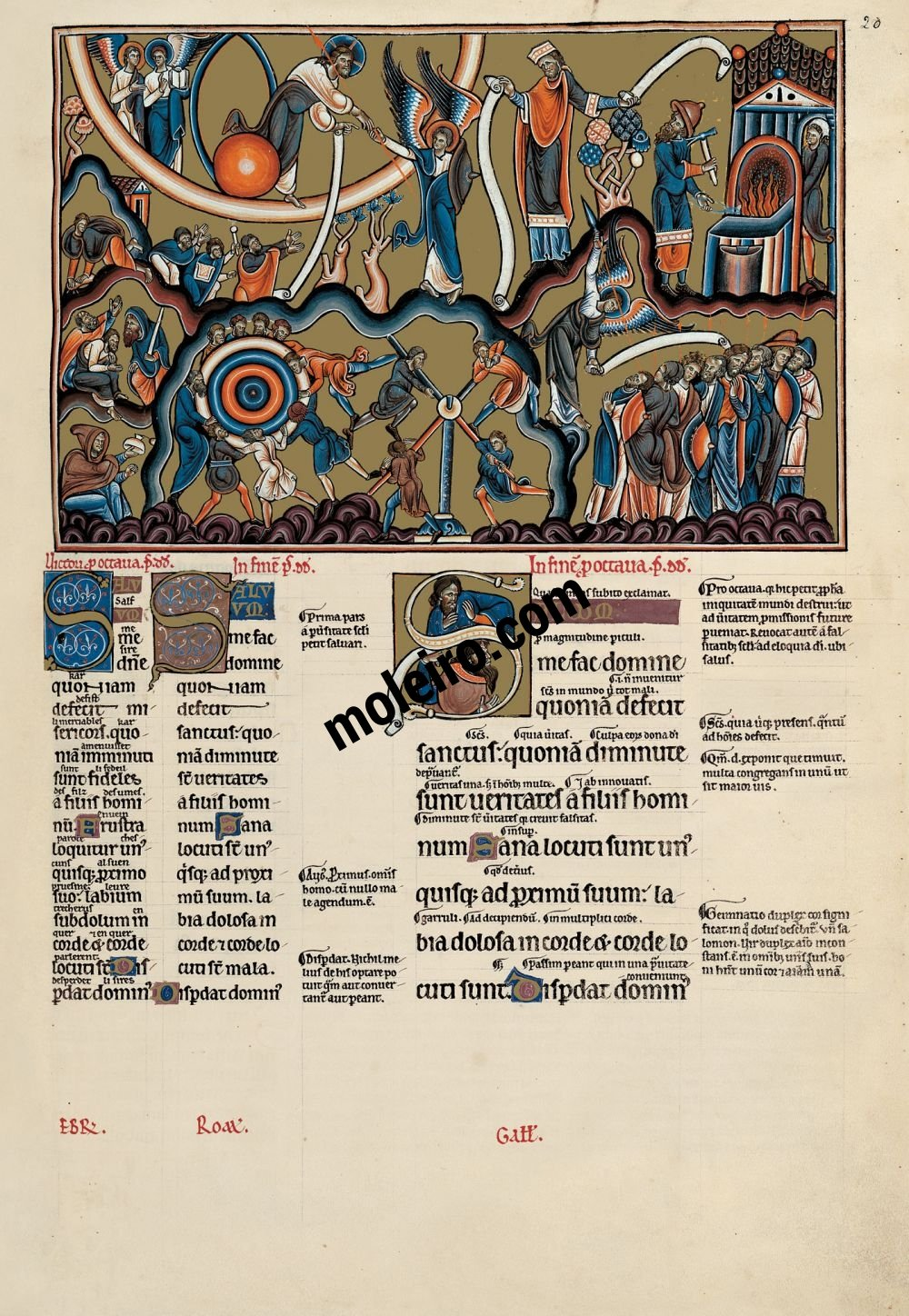 The Great Canterbury Psalter f. 20r, psalm 11  Save me Lord, for there is now no saint