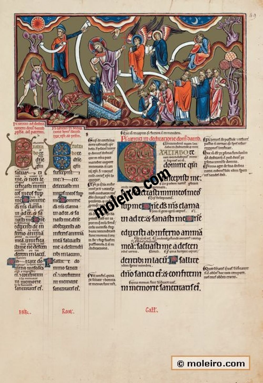 The Great Canterbury Psalter f. 49r, psalm 29  I will extol you Lord, for you have held me up