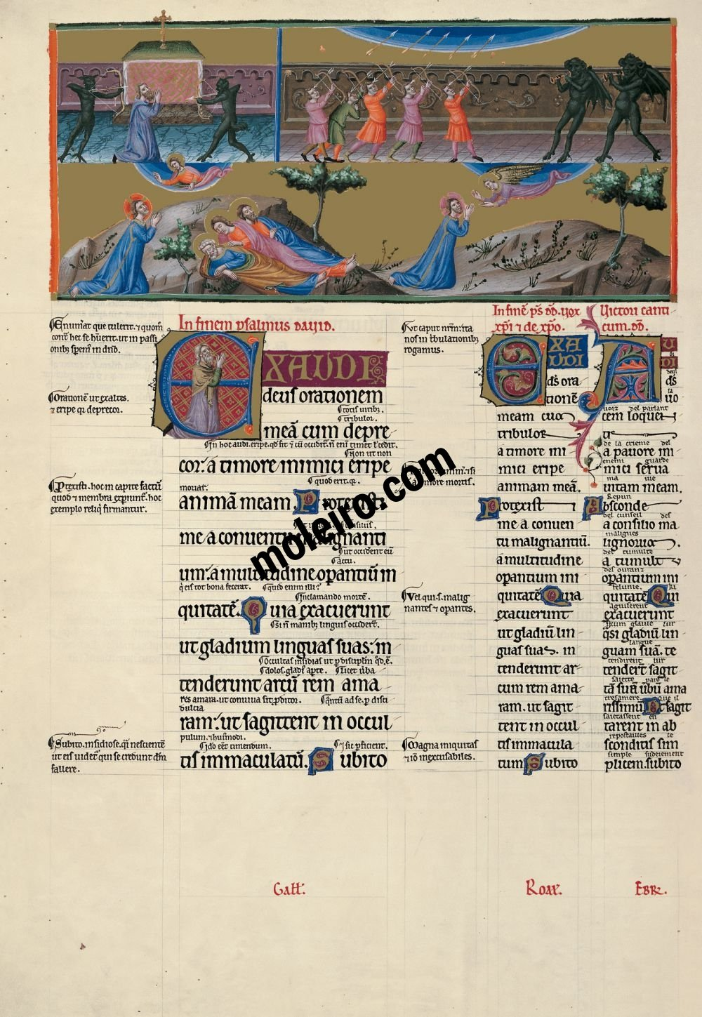The Great Canterbury Psalter f. 108v, psalm 63  Hear, O God, my prayer when I make supplication