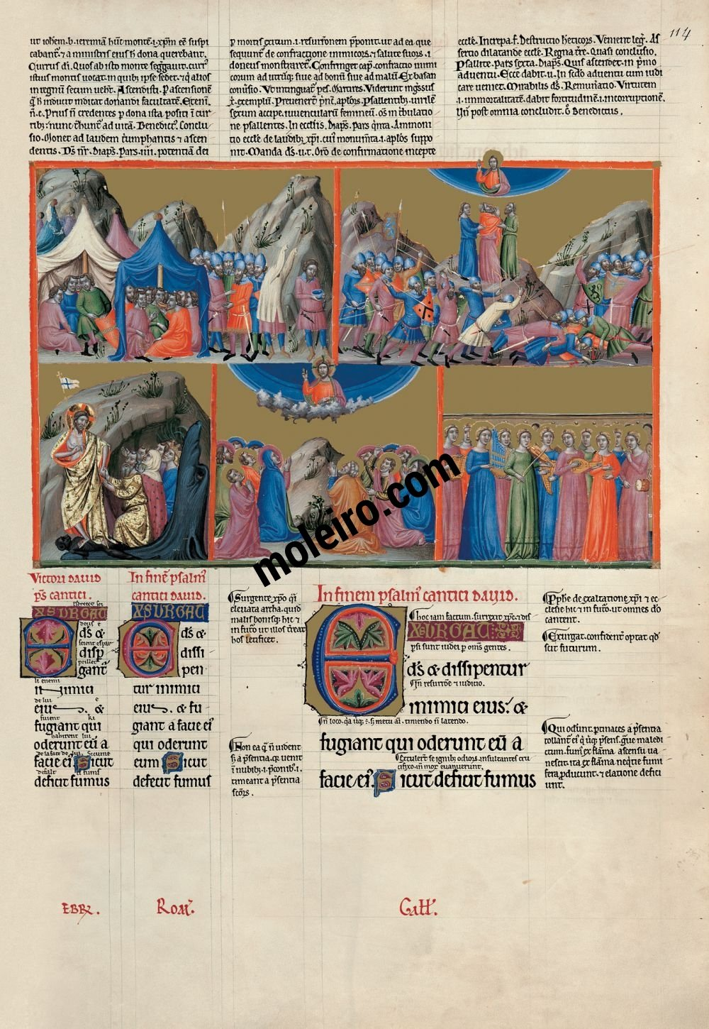 The Great Canterbury Psalter f. 114r, psalm 67 Let God arise and let his enemies be scattered