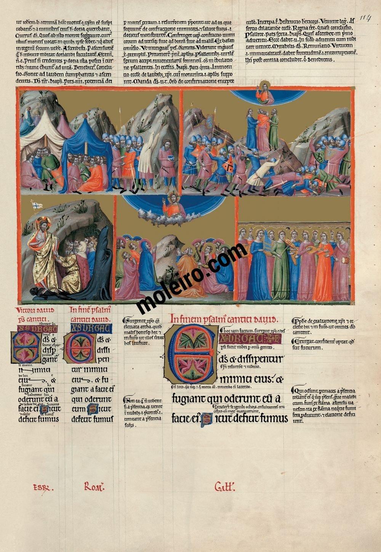 Saltério Glosado f. 114r, salmo 67 Levante-se Deus, e sejam dispersos os seus inimigos
