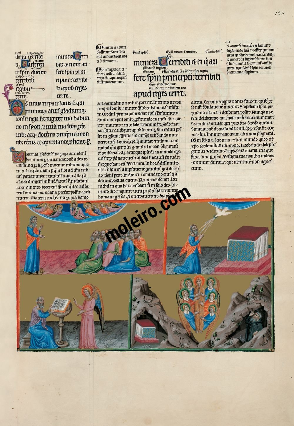 The Great Canterbury Psalter f. 133r, psalm 76  I cried to the  Lord with my voice