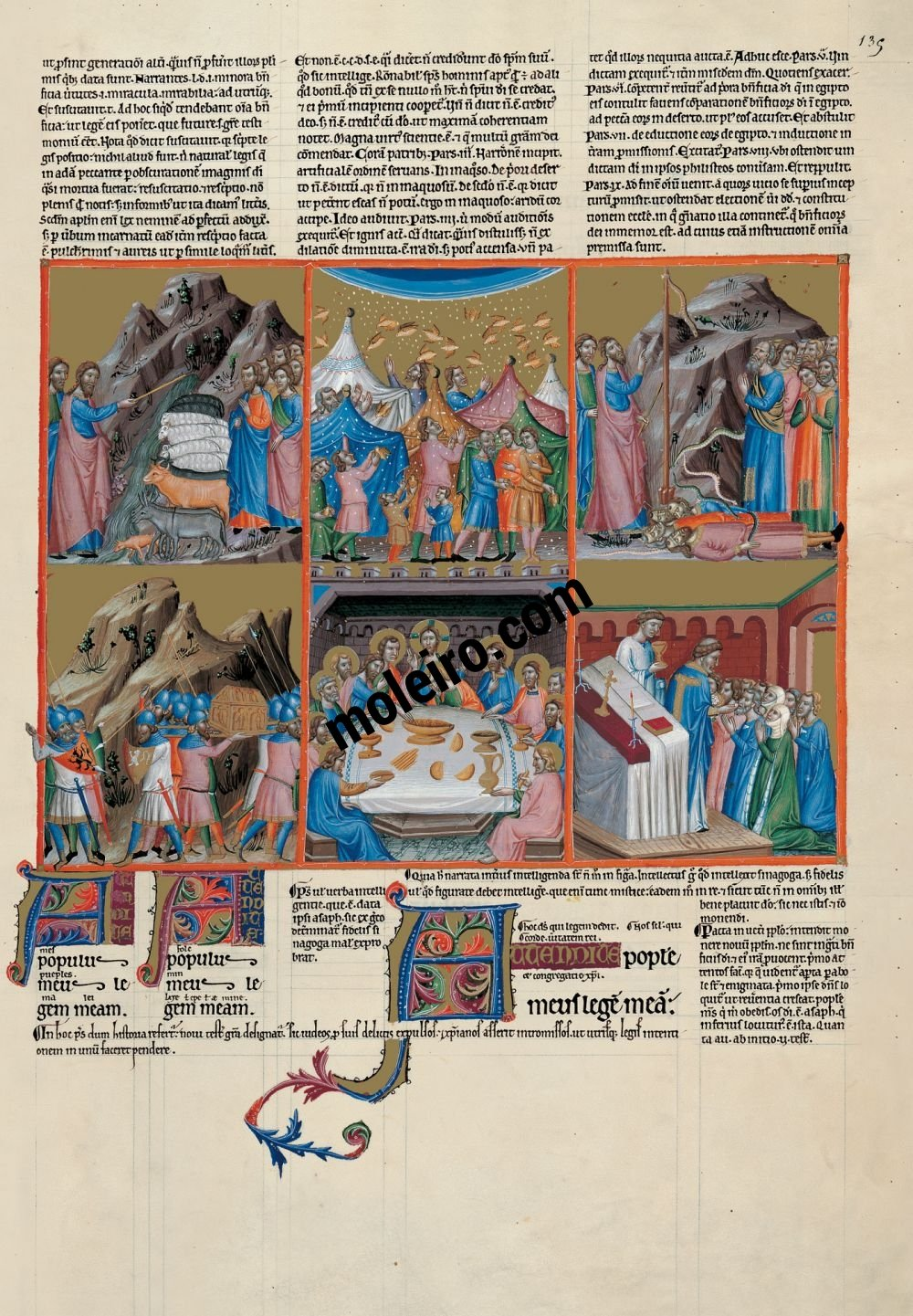 The Great Canterbury Psalter f. 135r, psalm 77  The tables set by God in the desert and the Eucharistic gathering