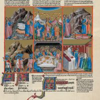 f. 135r, psalm 77  The tables set by God in the desert and the Eucharistic gathering