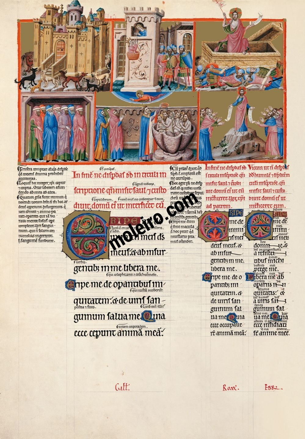 The Great Canterbury Psalter f. 101v, psalm 58 Deliver me from my enemies, O God