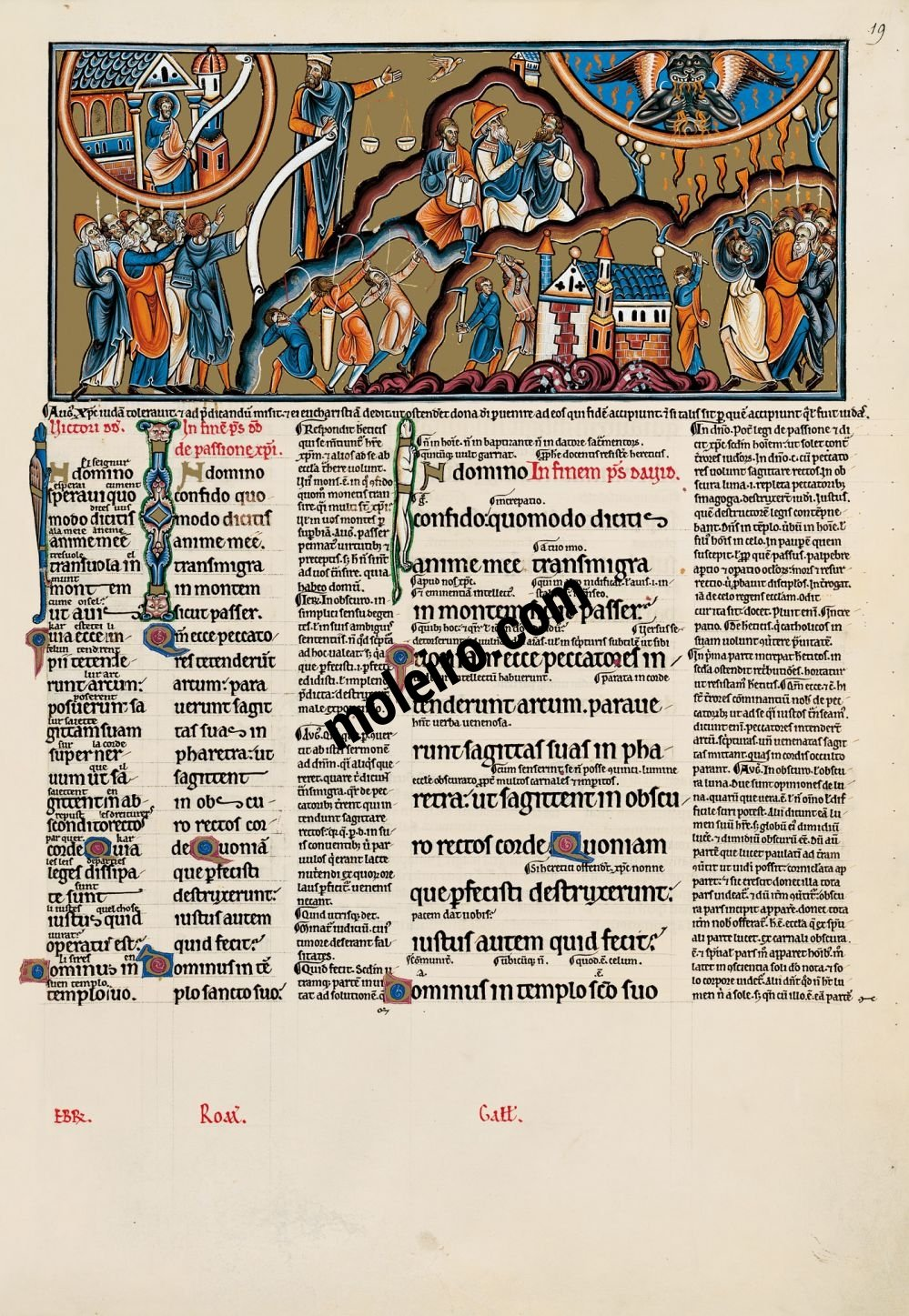 The Great Canterbury Psalter f. 19r, psalm 10, In the Lord I put my trust