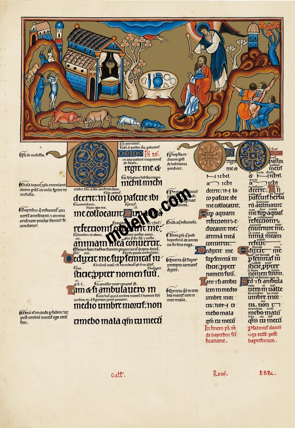 The Great Canterbury Psalter f. 39v, psalm 22, The Lord rules me and I shall want nothing