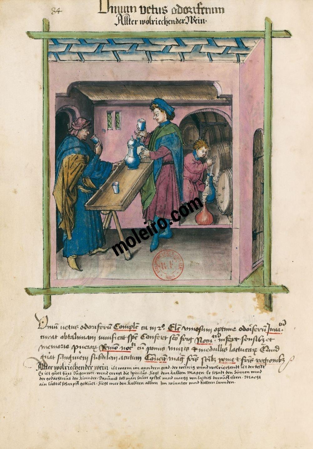 Tacuinum Sanitatis f. 84v, Alter wohlriechender Wein