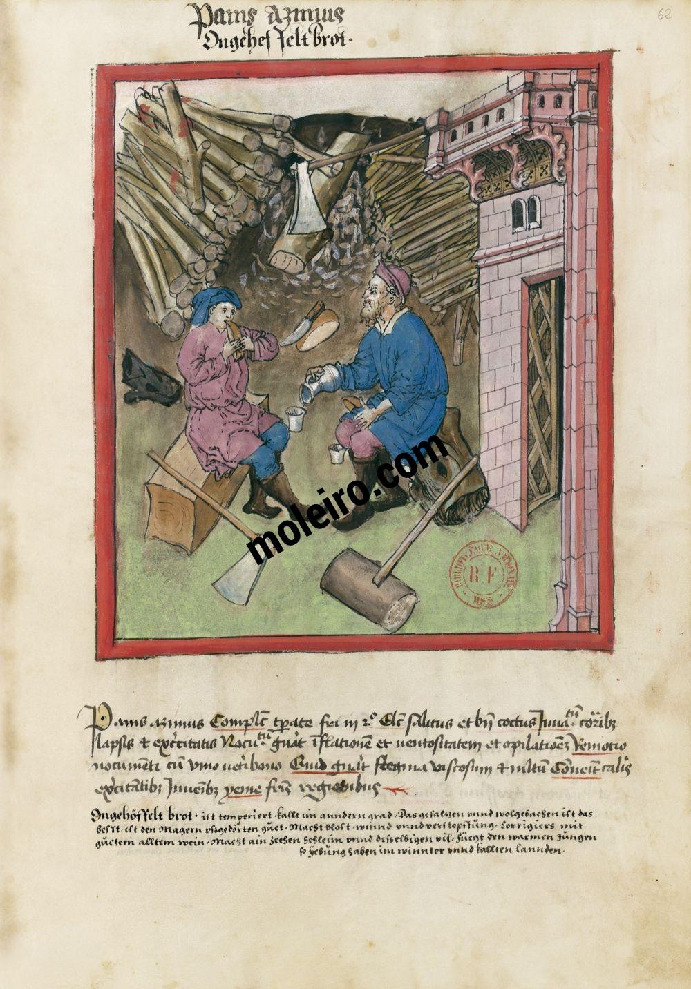 Tacuinum Sanitatis f. 62r, Unleavened bread