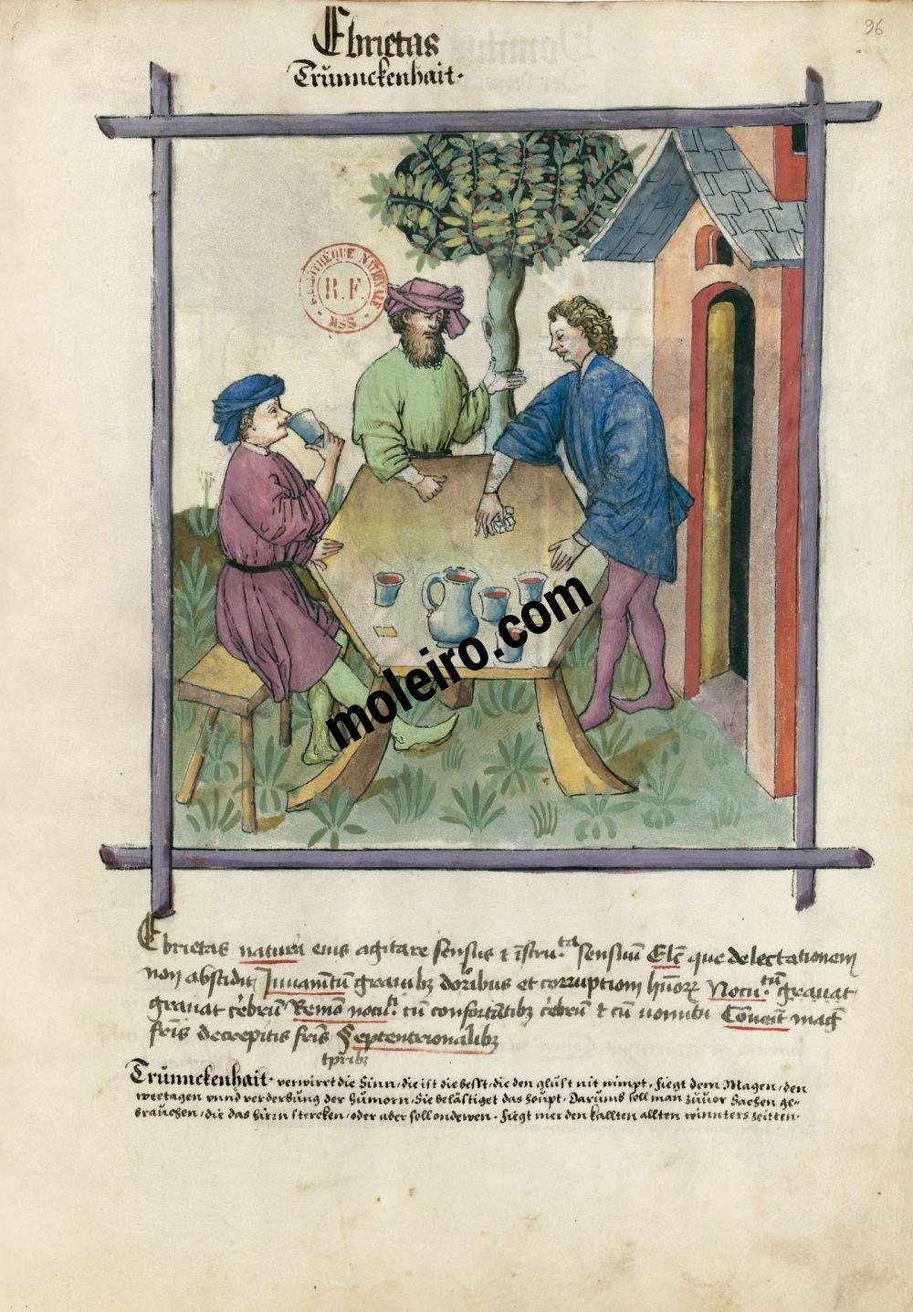 Tacuinum Sanitatis f. 96r, Ebriété