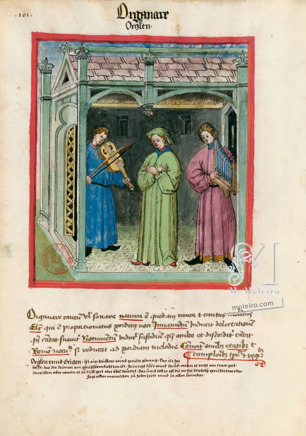 Tacuinum Sanitatis f. 101v, Playing an instrument