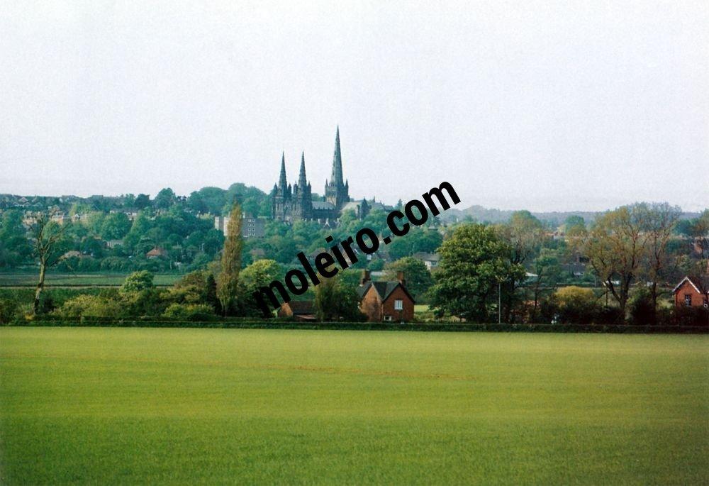 Talleres de Arquitectura en la Edad Media Lichfield, Birmingham, Angleterre, vue de la ville et de la cathédrale de Lichfield, XIIème ou XIIIème siècle