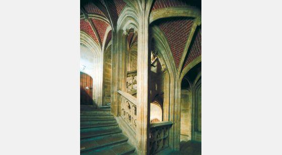 Talleres de Arquitectura en la Edad Media Gand, Países Bajo, Ayuntamiento, escalera, 1518-1539
