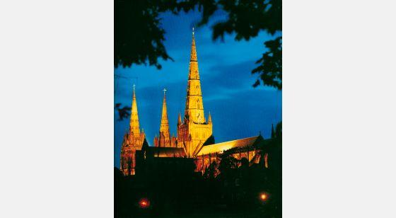 Talleres de Arquitectura en la Edad Media Lichfield, Birmingham, Inglaterra, torre, séculos XII ou XIII