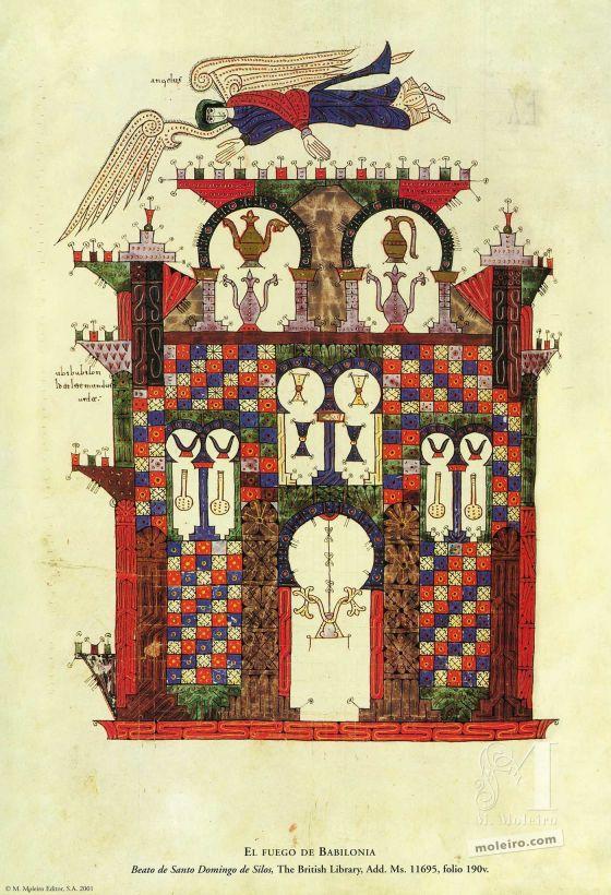 Carpeta de 12 pósters del Beato de Liébana, códice de Santo Domingo de Silos El fuego de Babilonia (folio 190v), Beato de Liébana, códice de Santo Domingo de Silos