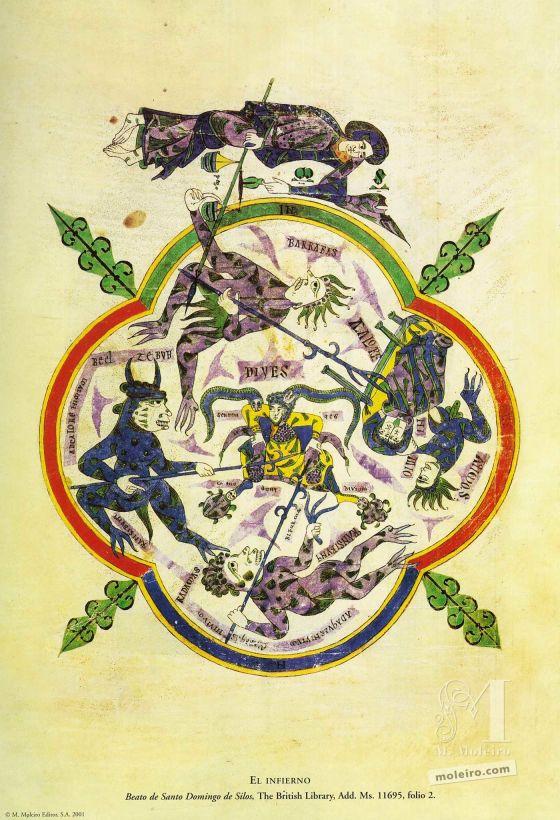 Carpeta de 12 pósters del Beato de Liébana, códice de Santo Domingo de Silos El Infierno (folio 2), Beato de Liébana, códice de Santo Domingo de Silos