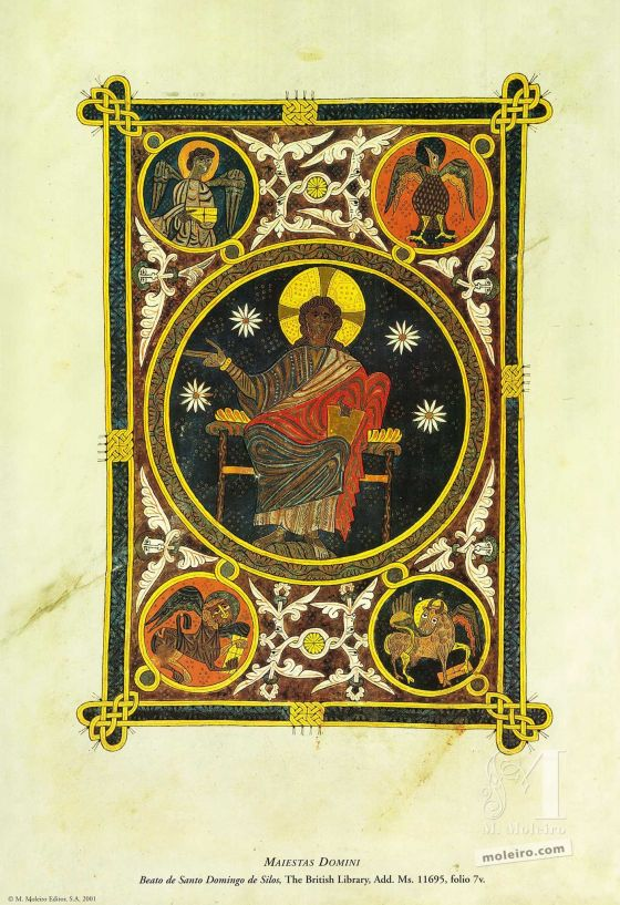 Carpeta de 12 pósters del Beato de Liébana, códice de Santo Domingo de Silos Maiestas Domini (folio 7v), Beato de Liébana, códice de códice de Santo Domingo de Silos
