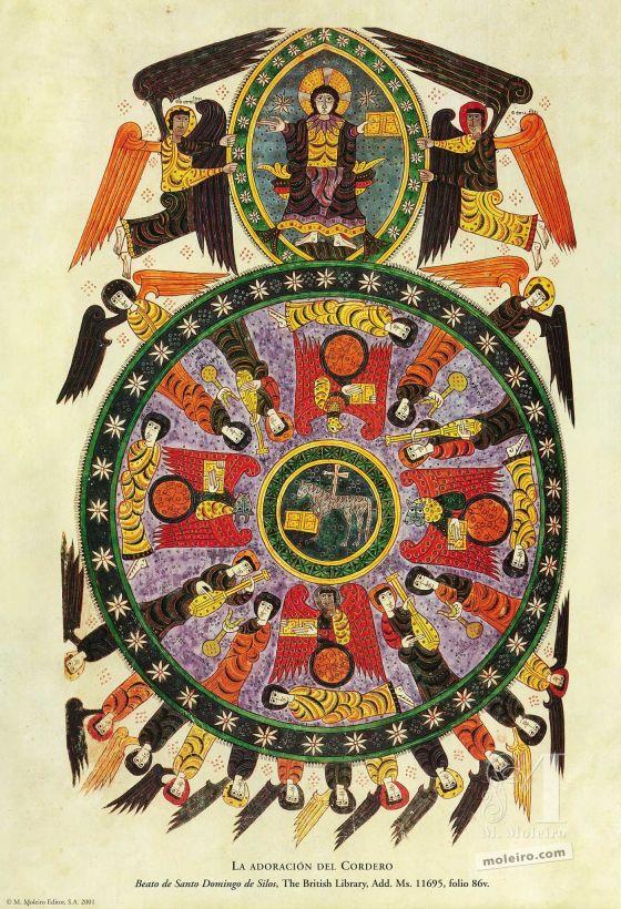 Carpeta de 12 pósters del Beato de Liébana, códice de Santo Domingo de Silos La adoración del Cordero (folio 86v), Beato de Liébana, códice de Santo Domingo de Silos