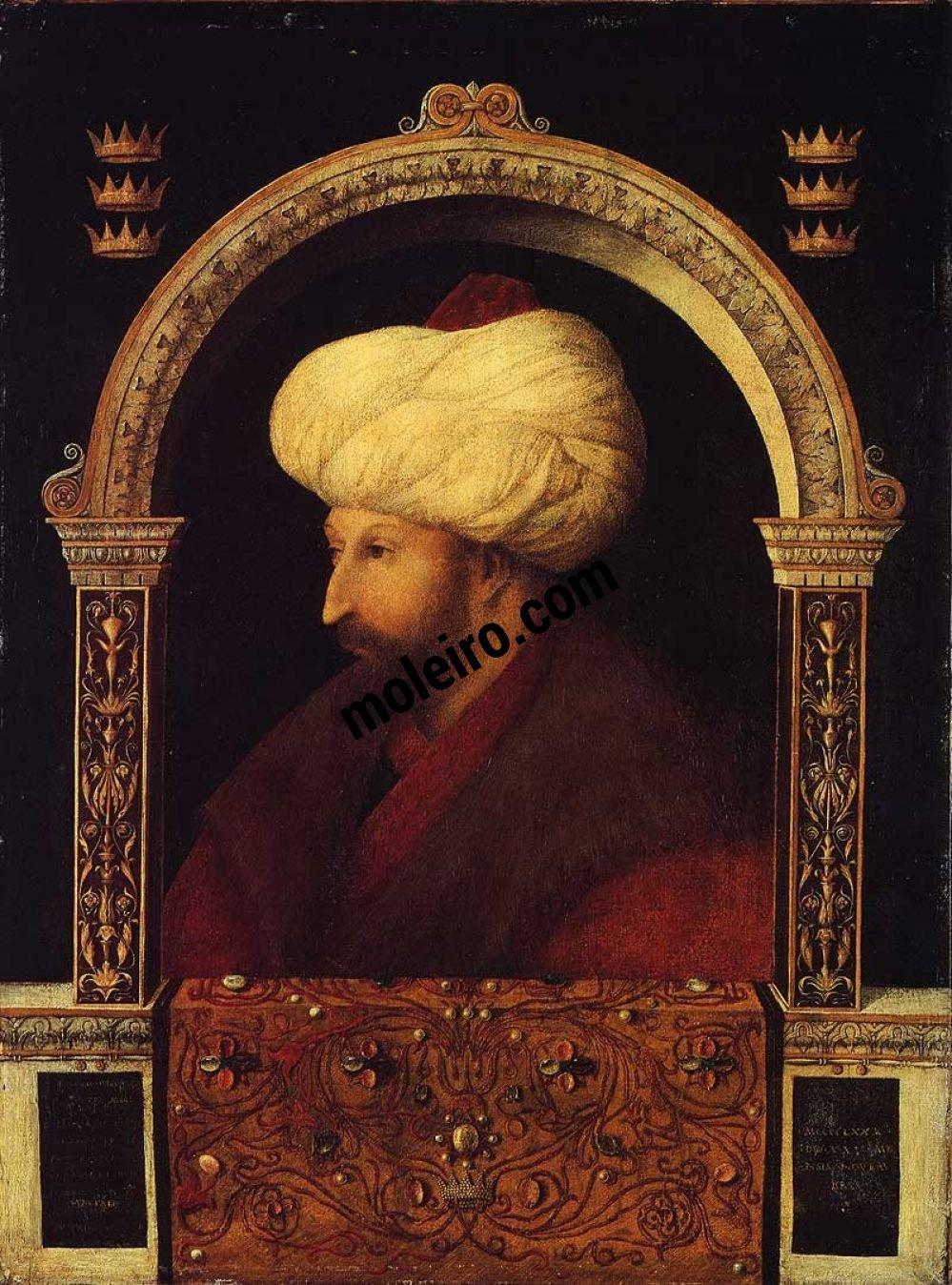 Talleres del Renacimiento Gentile Bellini,Retrato de Mehmet II, Londres, National Gallery.
