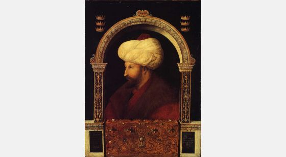 Talleres del Renacimiento Gentile Bellini,Ritratto di Mehemet II, Londra, National Gallery.