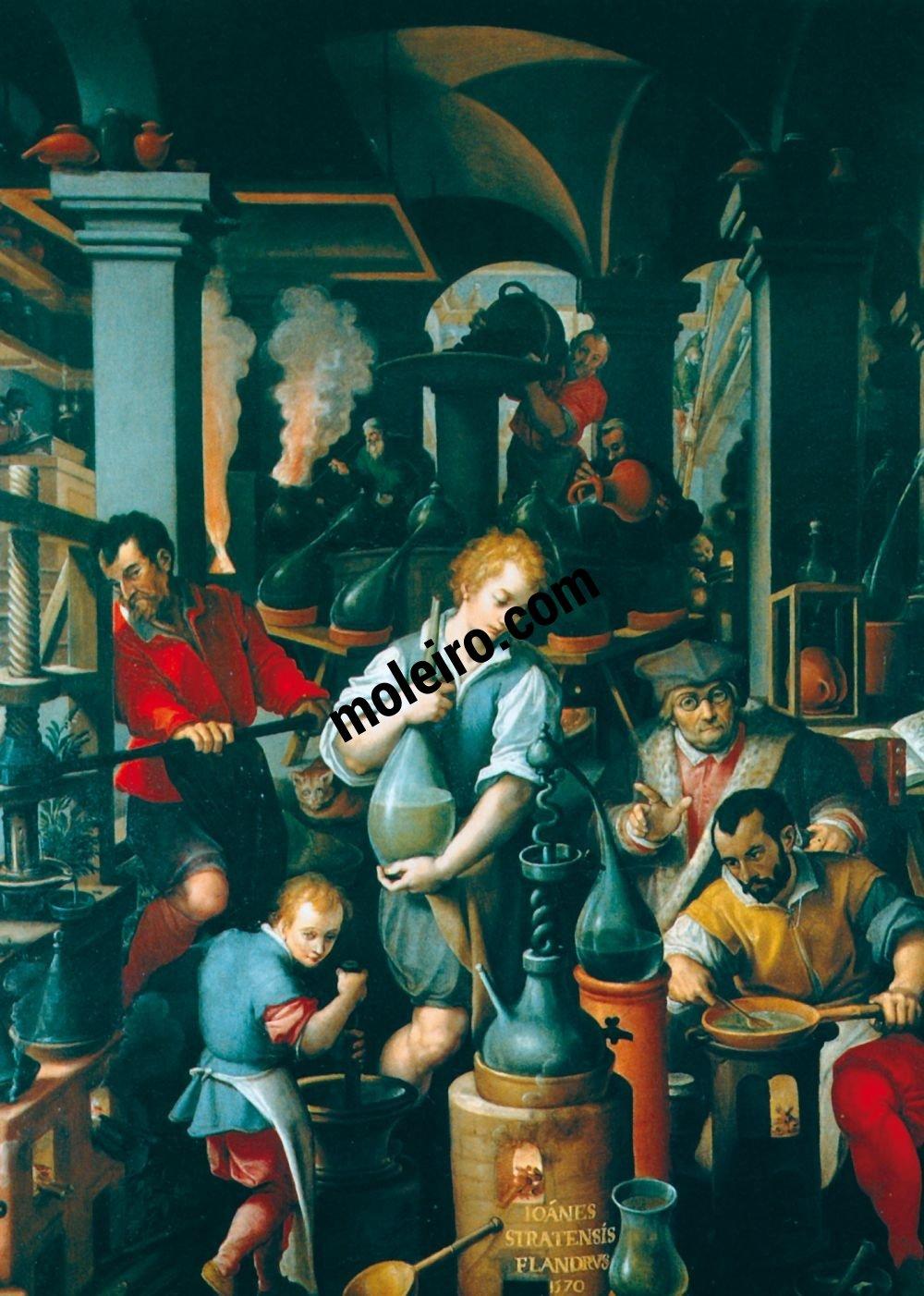 Talleres del Renacimiento Giovanni Stradano,El laboratorios de los alquimistas, Florencia, Palazzo Vecchio, Gabinette de Francisco I