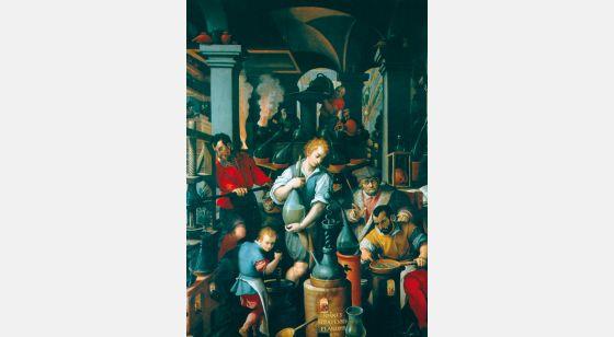 Talleres del Renacimiento Giovanni Stradano,Il laboratorio dell'alchimista, Firenze, Palazzo Vecchio, Studiolo di Francisco I