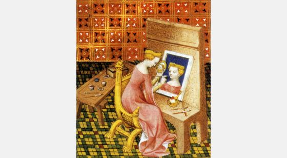 Talleres del Renacimiento Marcia, pittrice, miniatura del Livre des femmes nobles et renommées. Parigi, Bibliothèque Nationale, ms. 13420, f.101v