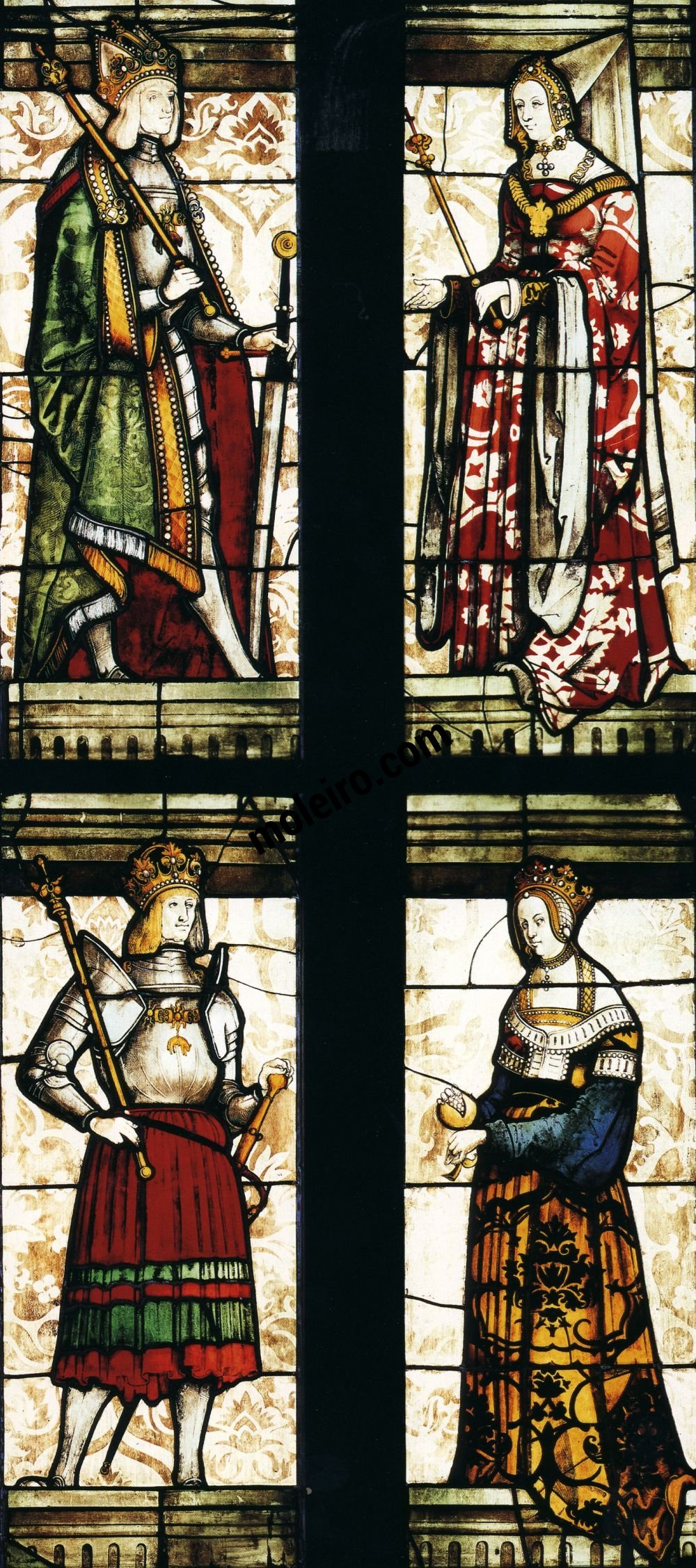 Talleres del Renacimiento Emperor Maximillian and Mary of Burgundy (top), Philip the Handsome and Joanna I of Castile (bottom), Veit Hirsvogel's workshop, Nuremberg, St Sebaldus, Emperor's glass window.