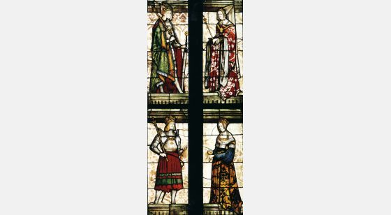 Talleres del Renacimiento Emperor Maximillian and Mary of Burgundy (top), Philip the Handsome and Joanna I of Castile (bottom), Veit Hirsvogel's workshop, Nuremberg, St Sebaldus, Emperor's glass window.