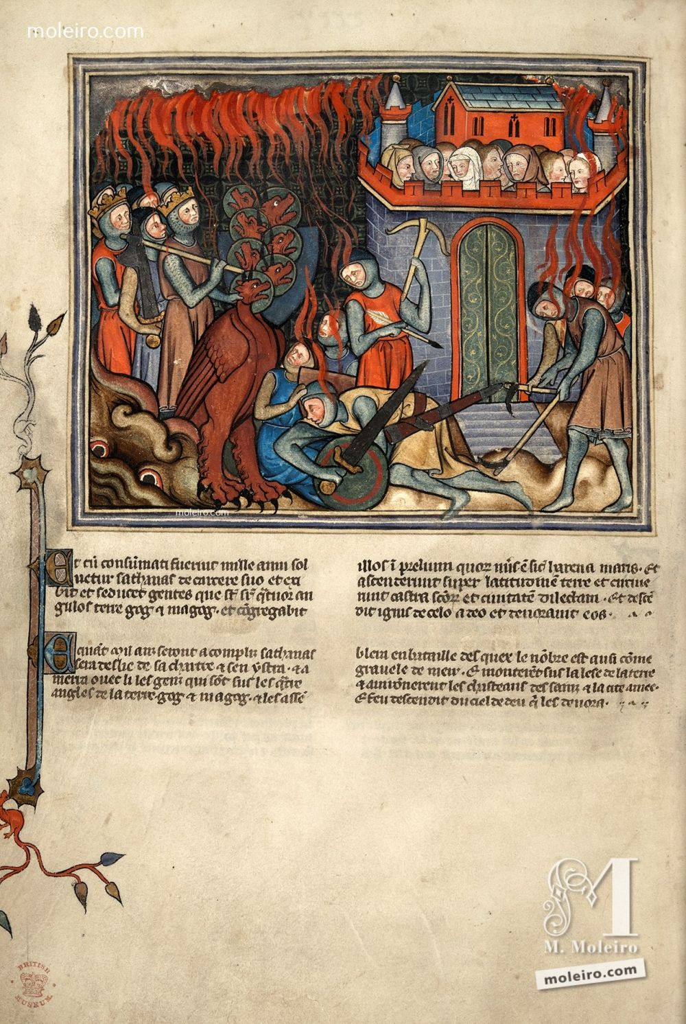 f. 42v · The Dragon comes up again to attack the Holy City (Apoc. 20: 7-9) Val-Dieu Apocalypse, fourteenth century