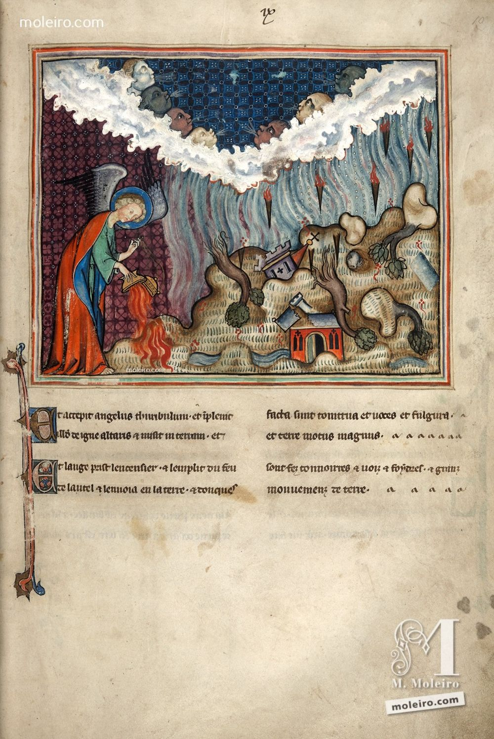 f. 9r · The opening of the seventh seal (Ap. 8, 5) Apocalypse Val-Dieu  XIVth century