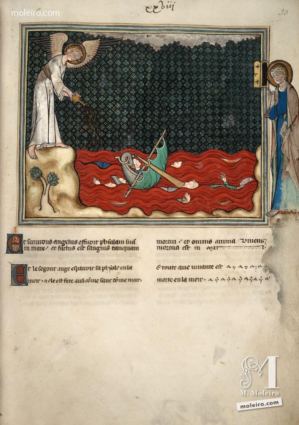 Miniatura folio 30r, Il secondo angelo rovescia la sua coppa (Ap. 16, 3). Apocalisse di Val-Dieu (The British Library, Londra: Add. Ms. 17333). 1320-1330, Nord-est della Francia Normandia. Manoscritto miniato dal Medioevo, secolo XIV.