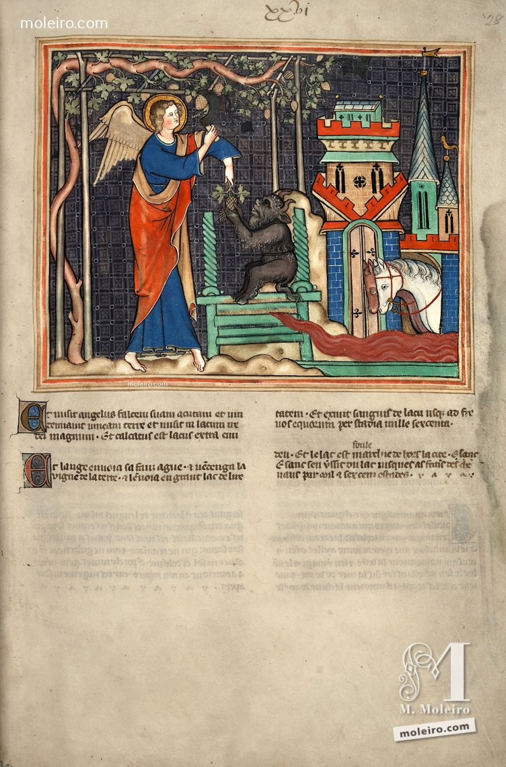 f. 28r · The harvest and vintage of the nations (Ap. 14, 18-20) Apocalypse Val-Dieu XVIth century