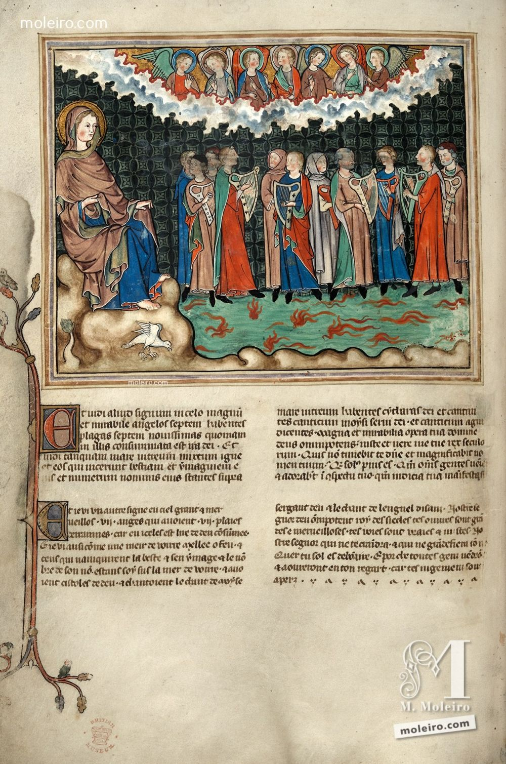 f. 28v · The canticle of Moses and the canticle of the Lamb (Ap. 15, 1-4) Apocalypse XIVth century