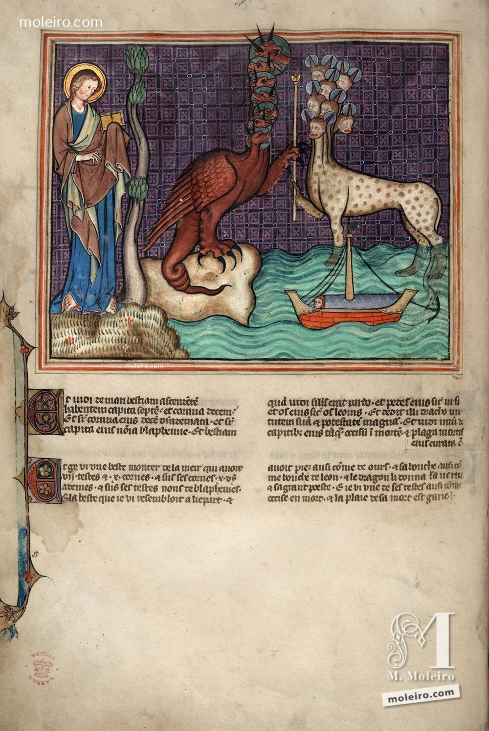 f. 21v · The dragon gives his power to the beast (Ap. 13, 1-7) f. 28v · The canticle of Moses and the canticle of the Lamb (Ap. 15, 1-4) Apocalypse Val-Dieu XIVth century