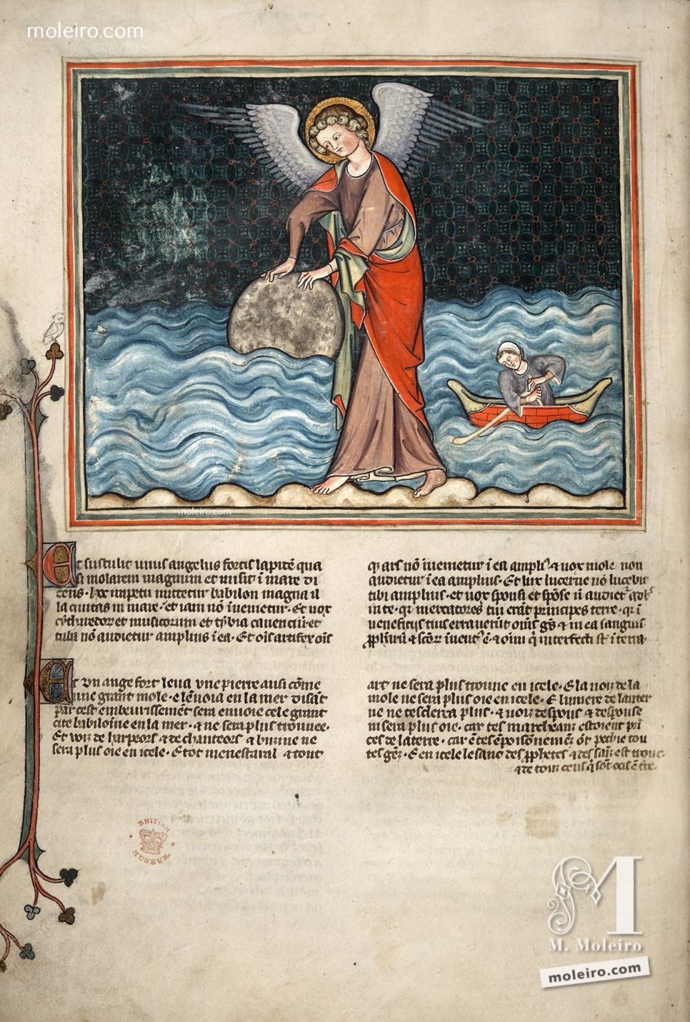 f. 37v · The Angel casts the Millstone into the Sea (Apoc. 18: 21-24) Val-Dieu Apocalypse, fourteenth century