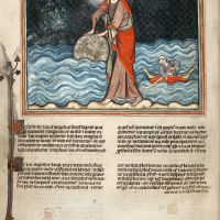 f. 37v · The Angel casts the Millstone into the Sea