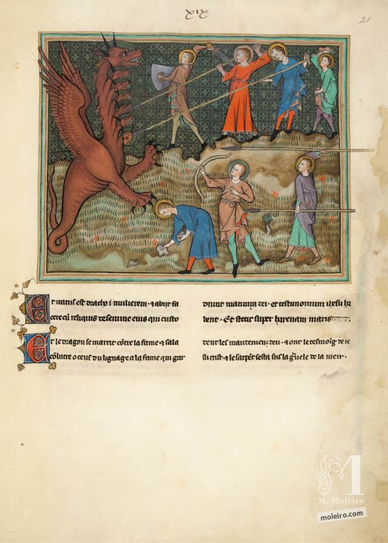 Val-Dieu Apocalypse f. 21r ·The Seed of the Woman fight the Dragon