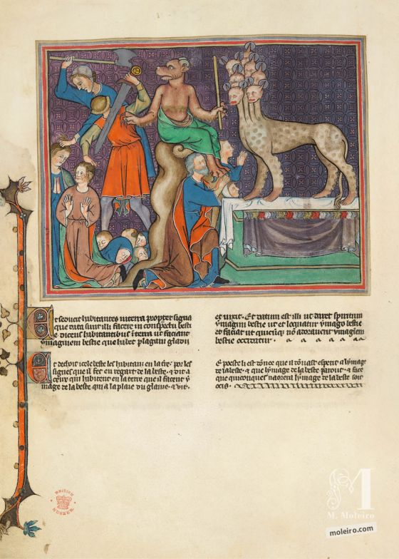Val-Dieu Apocalypse f. 23v ·The Beast from the Land (the False Prophet) orders the killing of those who refuse to worship the Statue of the Beast from the Sea
