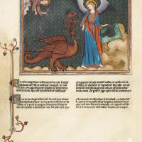 f. 41v · The Dragon chained and led to prison