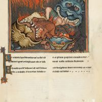 f. 43r · The Dragon, the Beast from the Sea and the False Prophet are cast into Hell