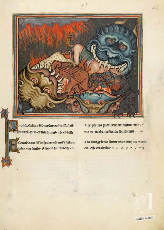 Val-Dieu Apocalypse f. 43r · The Dragon, the Beast from the Sea and the False Prophet are cast into Hell