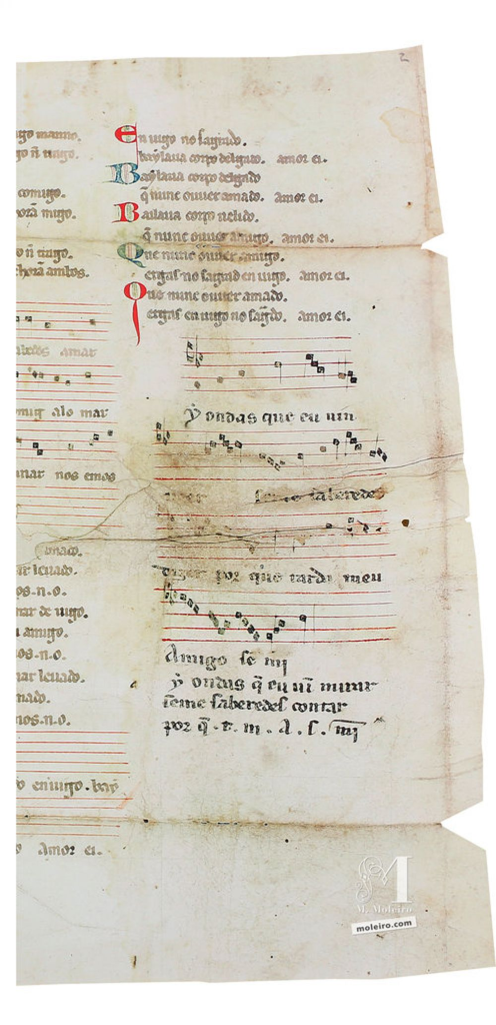Cantiga 7 of the Vindel Parchment by Martin Codax ms. m979 - The Morgan Library & Museum, New York