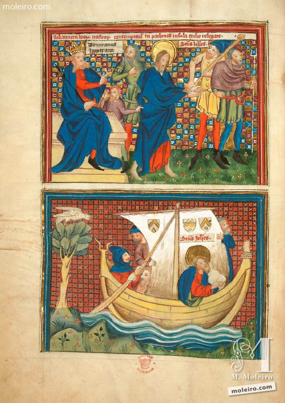 Miniature f. 2v · Domitian banishes St. John to the island of Patmos. St. John travels by boat to Patmos. Picture-book of the Life of St John and the Apocalypse, Add. Ms. 38121 (c. 1400) The British Library, London