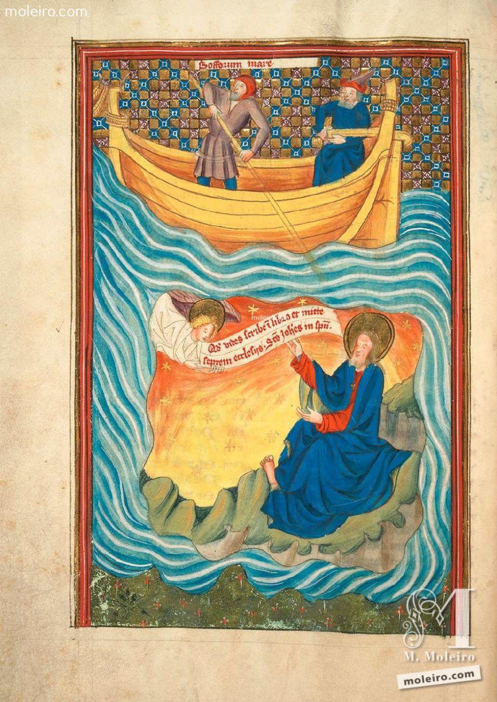 El ángel revela a san Juan el Apocalisis (Ap 1,1). f. 3v San Juan en Patmos. Apocalipsis y vida de San Juan en imágenes. Siglo XV