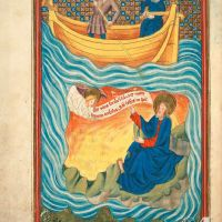 f. 3v · St. John in Patmos. The angel reveals to St. John the Apocalypse.