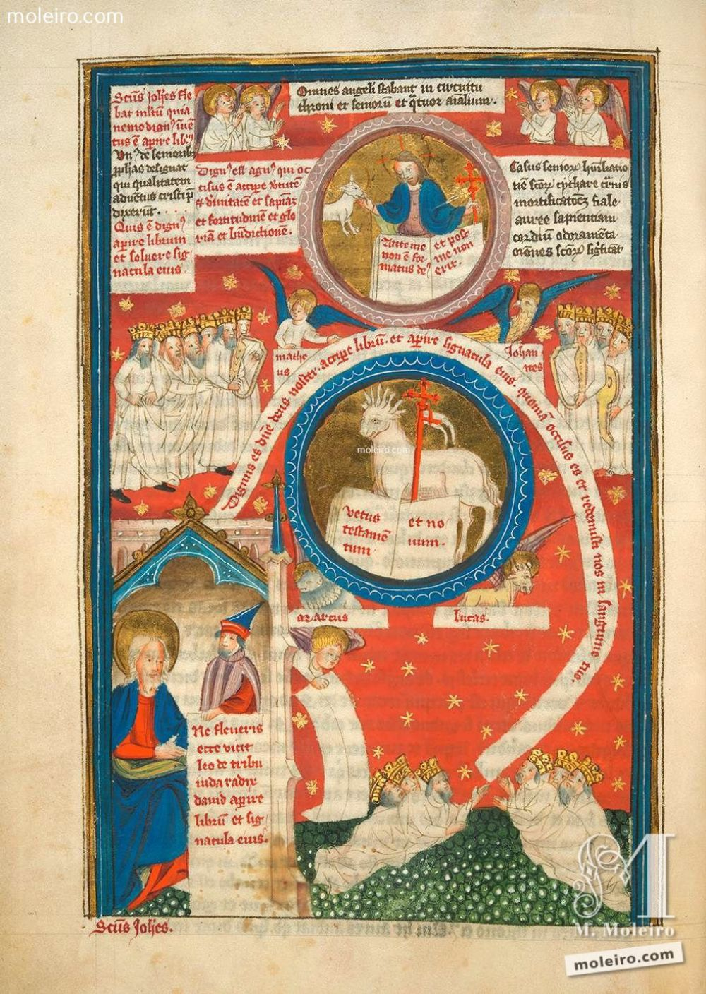 Miniature f. 6v · The Lamb receiving the book (Ap. 5, 6-14). Picture-book of the Life of St John andtheApocalypse,Add. Ms. 38121.The British Library, London. Illuminated manuscript from the XVth century.