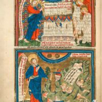 f. 9v · The opening of the seven seals (Ap. 6, 9-11 and Ap. 6, 12-17)